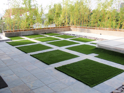 Artificial grass india for Terrace roof design india